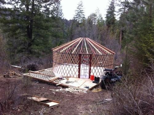 Esther's yurt, half-built