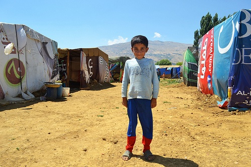 syrian boy at refugee camp