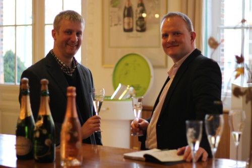 Tim and Jon taste champagne