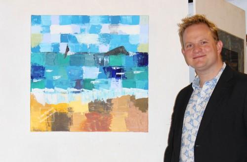 Jon exhibiting his work, Patchwork Sea