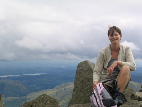 Tanya climbing Bow Fell