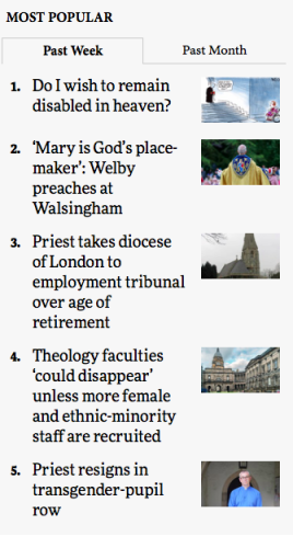 list of 5 most popular pieces on Church Times for 31 May 2019