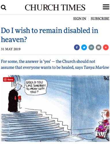 Screenshot of Church Times Disabled article 31 May 2019